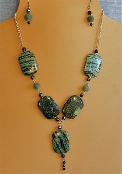 Kambaba Jasper, Glass, Onyx & Sterling Silver Necklace and/or Matching Earrings