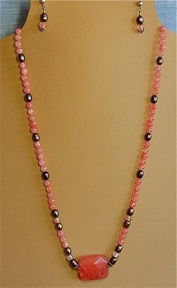 Cherry Quartz & Pearls Necklace and/or Matching Earrings
