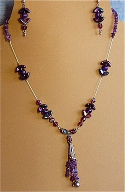 Amethyst, Crystals, Sterling Silver & Glass Necklace