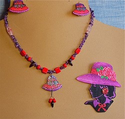 Red Hat Necklace and/or Clip-on Earrings, Pin