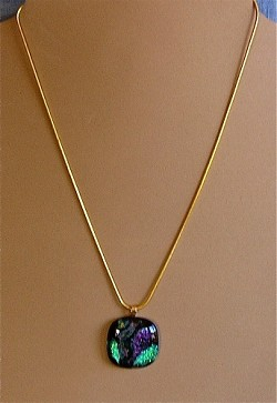 andmade Dichroic Glass Pendant on chain Necklace