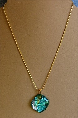 Dichroic Glass Pendant on Chain Necklace