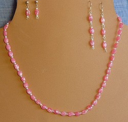 Rhodochrosite, Glass & Sterling Silver Necklace and/or choice of Earrings