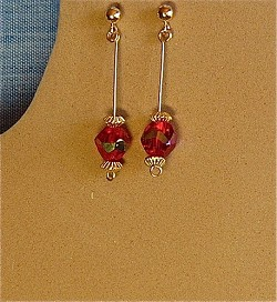 Red Crystals and 14 K gold-filled Earrings