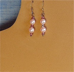 Pink Pearls, Crystals & Sterling Silver Earrings