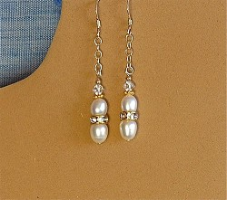 Pearls and Clear Crystal Ring Earrings