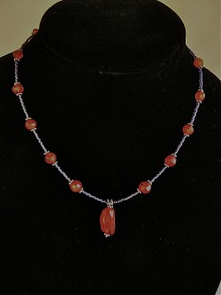 Carnelian, Glass, Sterling Necklace