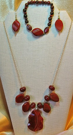 Carnelian Necklace, Earrings; Jasper & Carnelian Bracelet