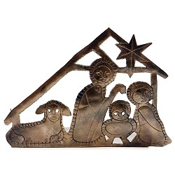 "Tealight Nativity, Recycled Iron, India. 5"" Tall."