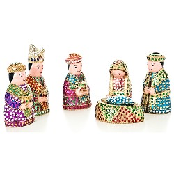 "Bling Nativity, Painted Wood with Rhinestones, India. 6.5"" Tall"